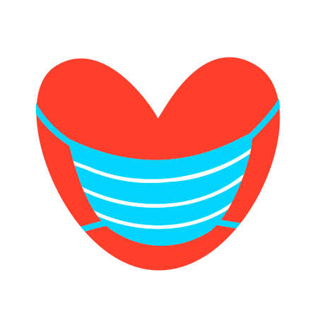 .Red heart in a medical mask. Vector illustration. Valentine day