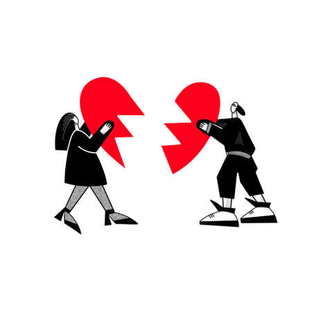 A guy and a girl are holding a broken heart.