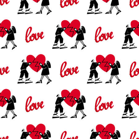 Pattern of lovers.Seamless pattern for Valentines Day. A guy and a girl are holding a broken heart.Vector