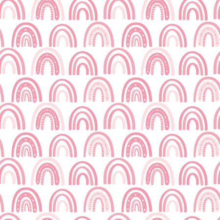 Pink rainbow muted pastel colors seamless pattern. Scandinavian minimalistic pattern. Hand-drawn vector illustration. Design for textiles, packaging, wrappers