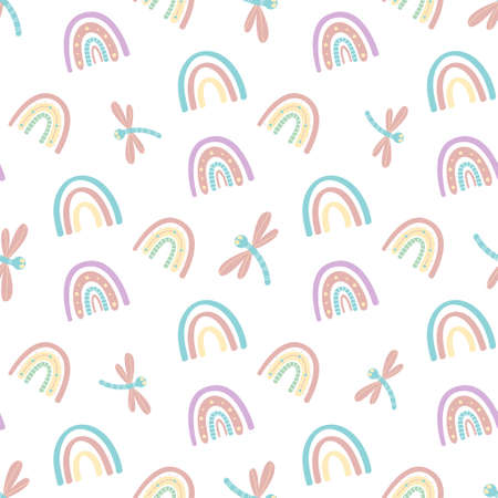 Cute rainbow and dragonfly seamless pattern. Scandinavian pattern in muted pastel colors. Hand-drawn vector illustration. Design for textiles, packaging, wrappers 向量圖像