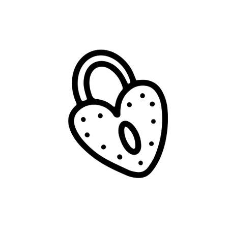 Heart-shaped lock isolated on white background.vector illustration in doodle style. design for valentines day, march 8, wedding  イラスト・ベクター素材