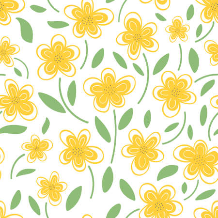 Yellow daisies on a white background pattern