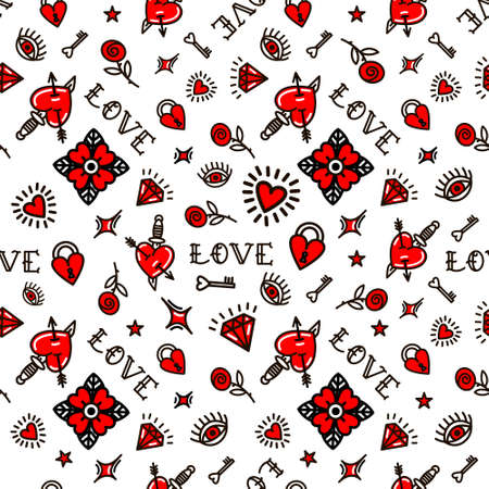 Valentines Day in old school style seamless pattern. Vector illustration. Design For Valentines Day, Stilts, Wrapping Paper, Packaging, Textiles