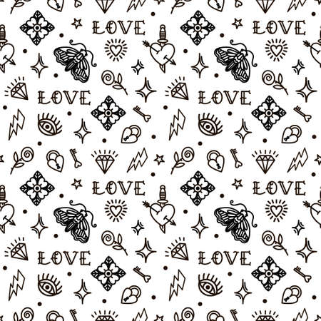 Valentines Day in old school style seamless pattern. Vector illustration.
