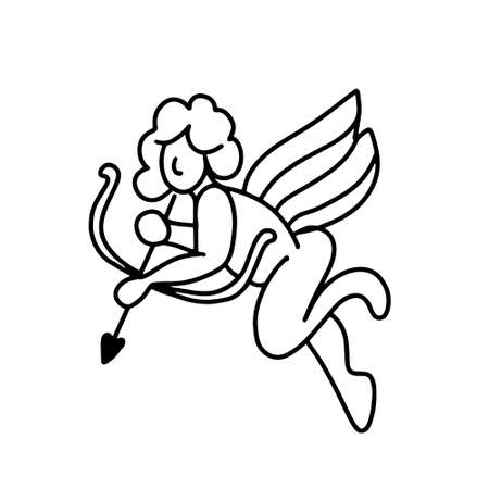 cupid with arrows. Angel isolated on a white background.vector illustration in doodle style. Design for Valentines Day
