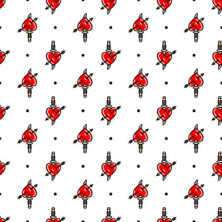 Heart with dagger seamless pattern