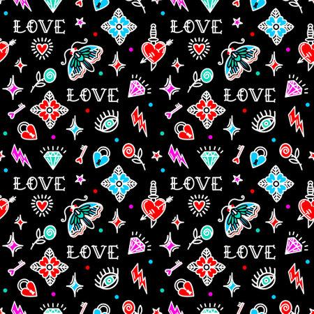 Old school tattoo pattern with love symbols