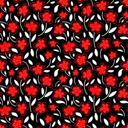 Seamless pattern of red chamomile flowers on a black background.Spring pattern