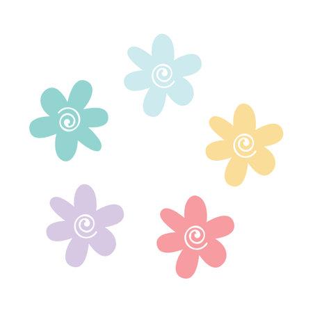 Cute spring flowers in pastel colors. Wildflowers of various colors. Vector flat illustration.