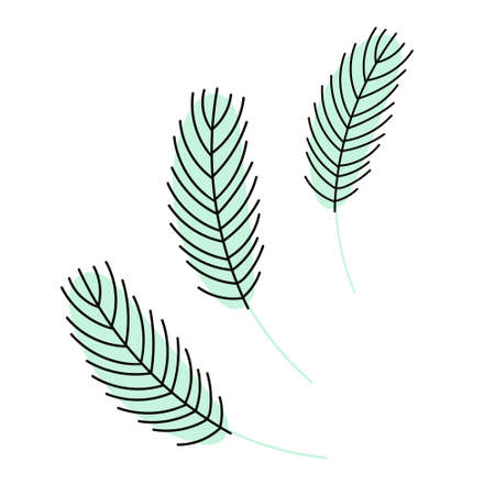 Birds feather . Chicken or goose feather. Design for Easter, Christmas, postcards, stickers. Flat vector illustration