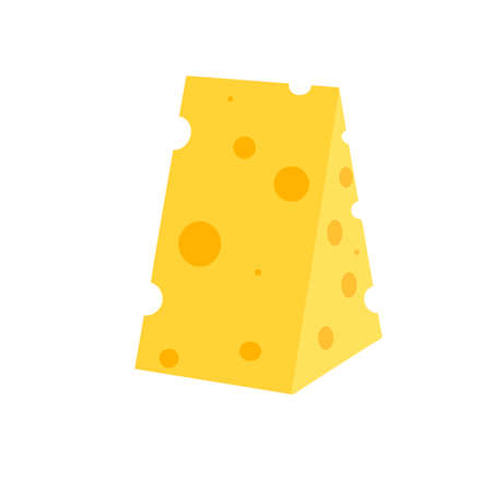 A piece of cheese on a white background. Dairy products. Flat vector illustration