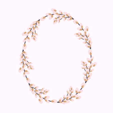 Oval wreath of willow. Willow wreath.Easter wreath made of willow stalks.Vector flat illustration isolated on a white background.
