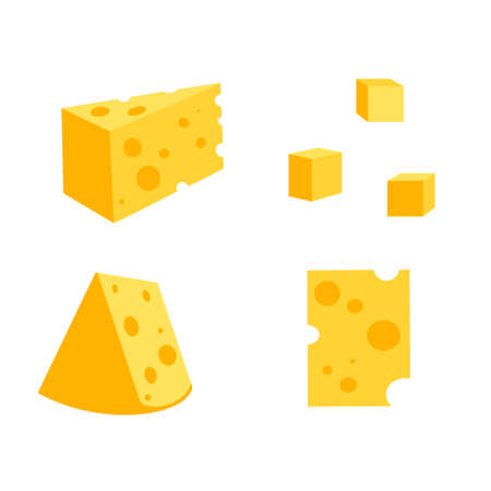 A set of cheese slices.Cheese of various shapes
