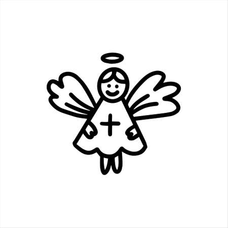 A cute little angel with wings. Vector illustration in the doodle style Vettoriali