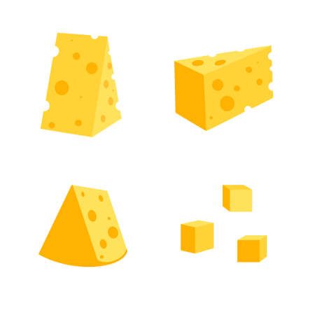 .Cheese with holes isolated on white background, vector flat illustration. Set of cheese of different shapes: triangular, square