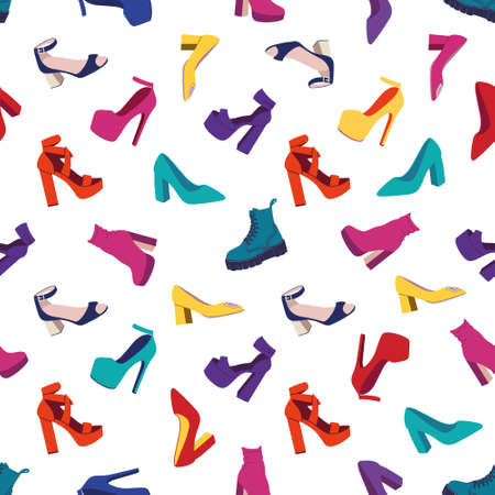 Seamless pattern with womens shoes.Fashion High-heeled Shoes, Boots, Sandals. Flat vector illustration
