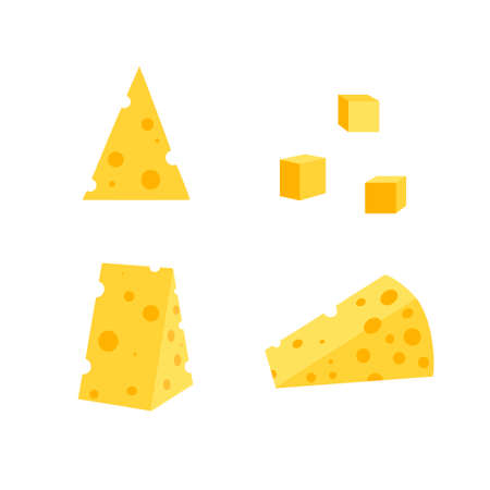 A set of cheese slices.Cheese of various shapes. Dairy products. Flat vector illustration