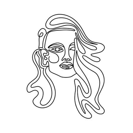 Outline of woman with long hair