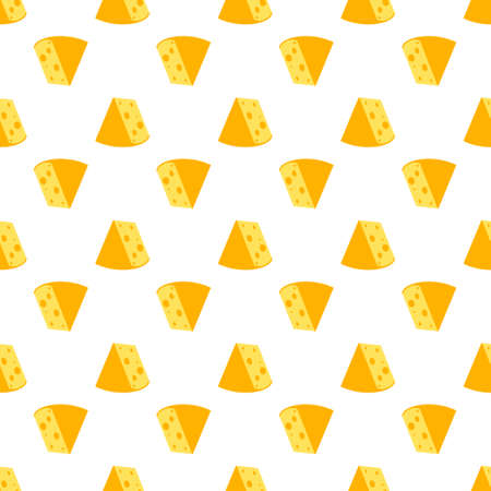 Cheese seamless pattern. Pieces of yellow cheese, isolated on a white background. Pieces of cheese of various shapes. Vector flat illustration Иллюстрация