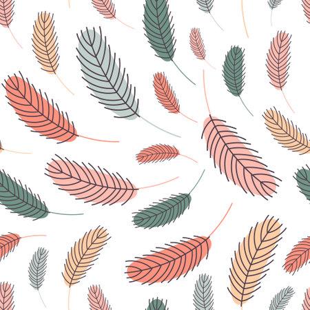Bird feathers seamless pattern. Easter pattern Vector Illustration