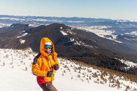 Girl goes skiing in winter