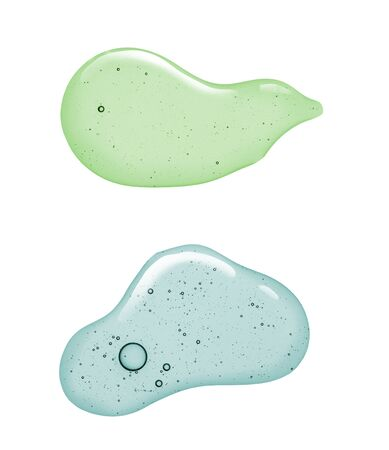 Liquid gel or serum on a screen of microscope white isolated background