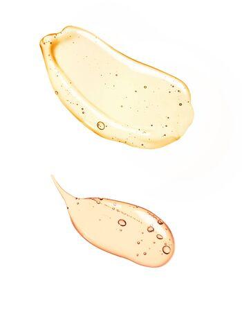 Flüssiges Gel oder Serum auf einem Bildschirm mit weißem isoliertem Hintergrund des Mikroskops