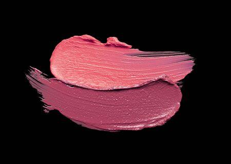 Red pink orange lipstick black background texture smudged