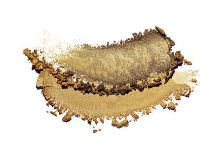 Eye shadow or bronzer neutral brown orange red smudge white isolated background