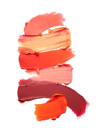 Lipstick multi colored smudge swatch isolated on white background