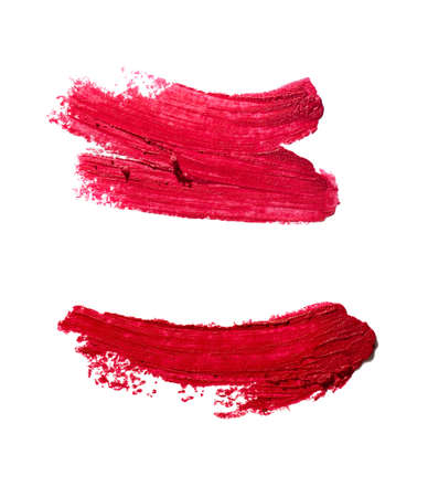 Lipstick red smudge swatch isolated on white background