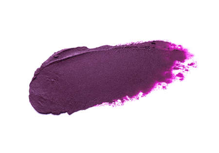 Lipstick purple smudge swatch isolated on white background