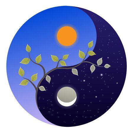 Emblème Yin-yang symbolisant l'équinoxe de printemps