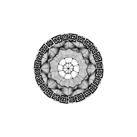 Illustration of a black and white mandala
