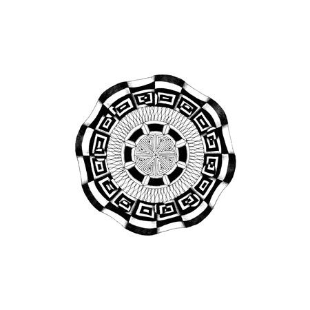 Illustration of a black and white mandala