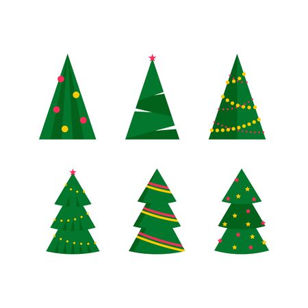 Christmas trees set, flat design. Vector illustration.