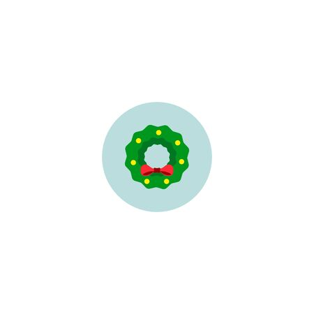 Vector isolated illustration. Christmas wreath icon, sticker.
