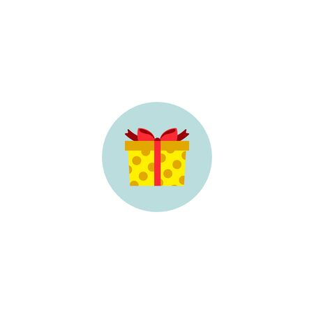 Icon gift on blue background, sticker. Vector illustration, flat design, geometric style. Element for Christmas banners, posters, leaflets, invitations, greeting cards or for web design. Ilustração