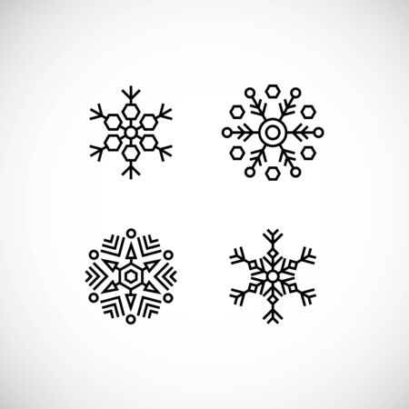 Icons set of black snowflakes on white background. Vector illustration, flat design, geometric style. Elements for Christmas banners, posters, leaflets, invitations, greeting cards or for web design.
