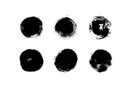 Set of black round paint spots with texture. Vector illustration. Different brush strokes. Can be using for web design, logos, banners, greeting cards, leaflets, posters, design clothing.