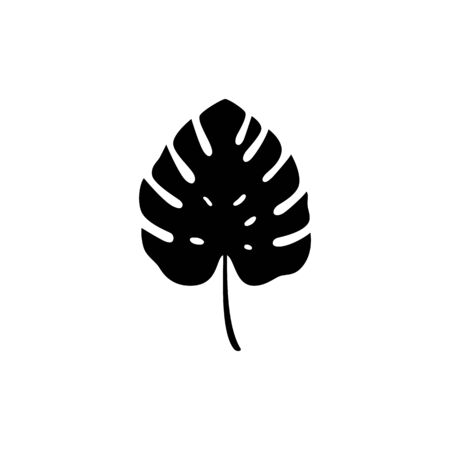 Black silhouette of monstera leaf. Vector isolated illustration with tropical leaf on white background. Can be used for printing, banners, postcard, websites, clothing, design interior.