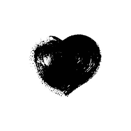 Black paint spot with texture in form heart. Vector isolated illustration. Can be using for web design, logos, banners, greeting cards, leaflets, posters, for printing on clothing, cups.