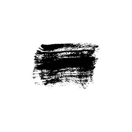 Sloppy brush strokes, black paint stain with texture. Vector illustration. Place for text. Can be using for web design, logos, banners, cards, posters, for design clothing, bags, interior decoration.