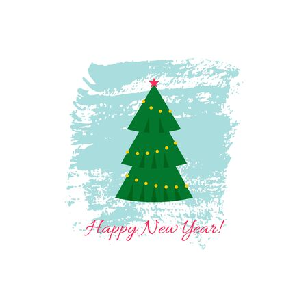 New Year card with Christmas tree on textured background with text. Vector illustration. For using on posters, leaflets, invitations, greeting cards, web design, for printing on clothes, cups, plates.