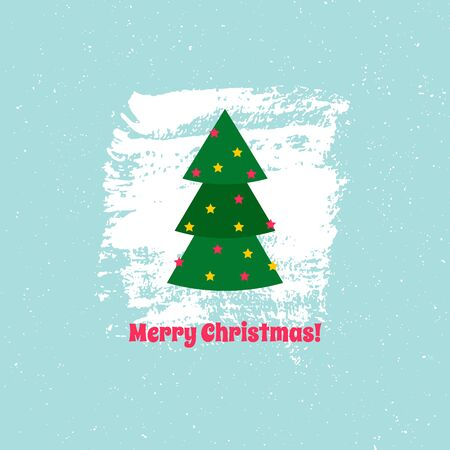 Christmas card with text. Christmas tree with stars on textured background. Vector illustration. For using on posters, leaflets, invitations, greeting cards, web design, for printing on clothes, cups. 写真素材 - 133151926