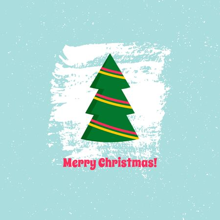Christmas card with text. Vector isolated illustration. Christmas tree on blue background. For using on posters, leaflets, invitations, greeting cards, web design, for printing on clothes, cups. Çizim