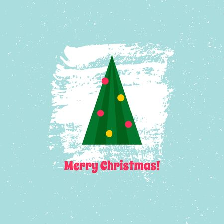 Christmas tree on blue background with text, Christmas card. Vector illustration. For using on posters, leaflets, invitations, greeting cards, web design, for printing on clothes, cups, plates. Çizim