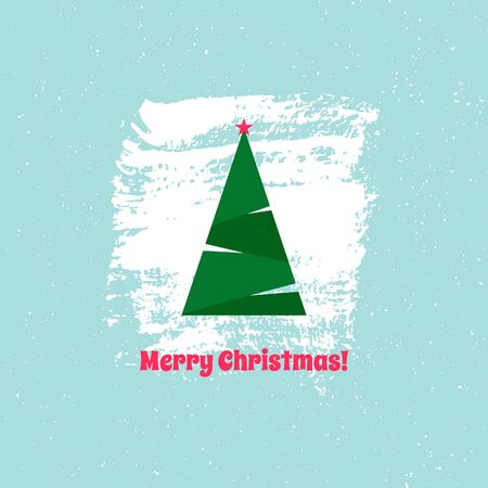 Christmas tree with star on blue background, Christmas card. Vector illustration. For using on posters, leaflets, invitations, greeting cards, web design, for printing on clothes, cups, plates. 写真素材 - 133152379