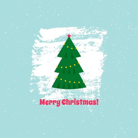 Christmas card with Christmas tree on textured background with text. Vector illustration. For using on posters, leaflets, invitations, greeting cards, web design, for printing on clothes, cups, plates Çizim